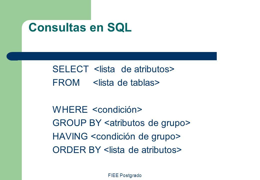 Consultas en SQL SELECT <lista de atributos>