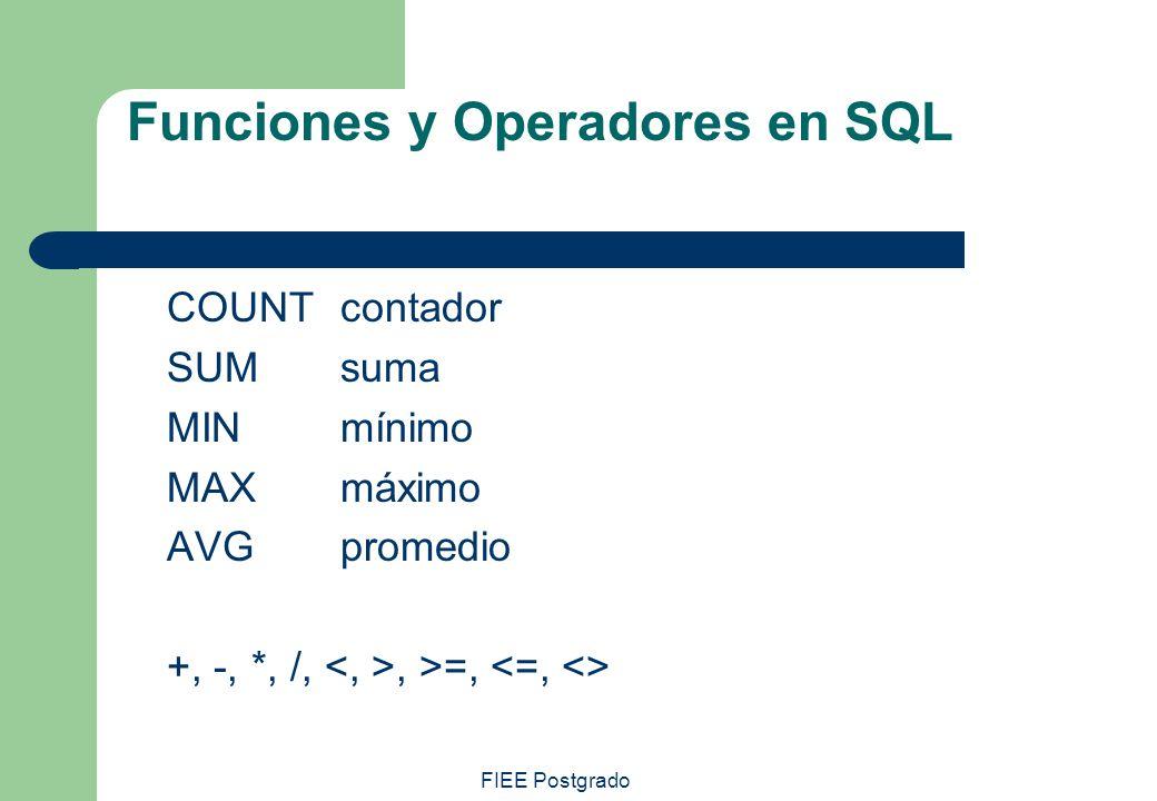 Funciones y Operadores en SQL