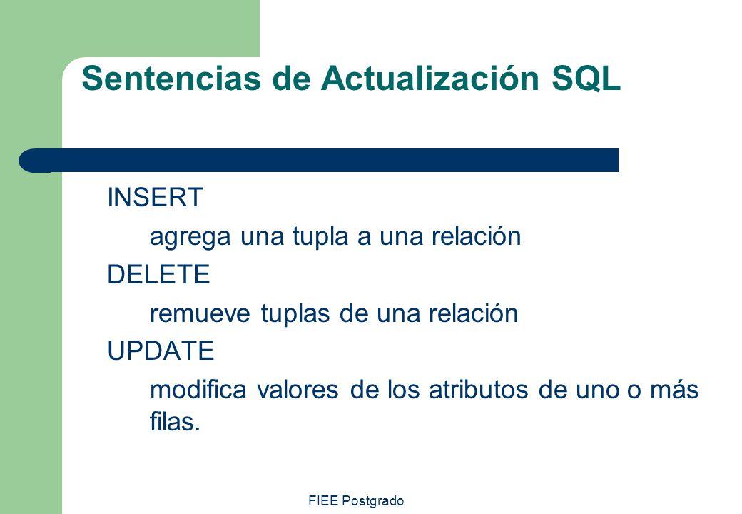 Sentencias de Actualización SQL