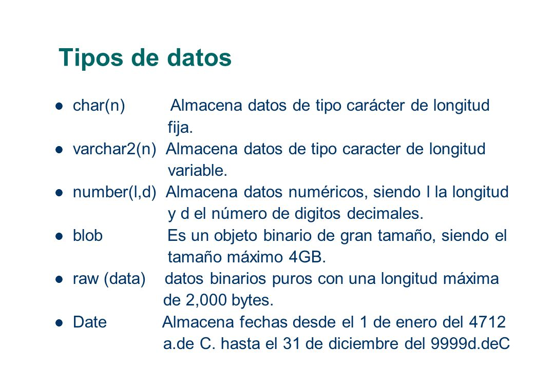 Tipos de datos char(n) Almacena datos de tipo carácter de longitud