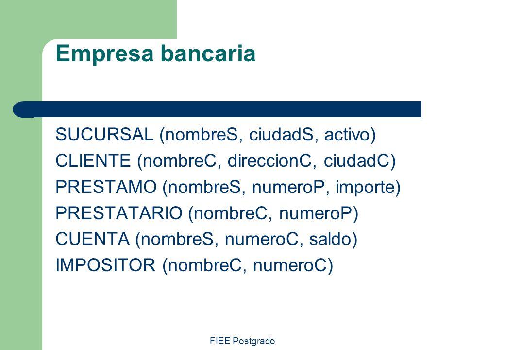Empresa bancaria SUCURSAL (nombreS, ciudadS, activo)