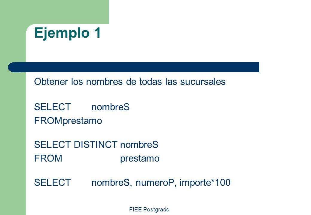 Ejemplo 1 Obtener los nombres de todas las sucursales SELECT nombreS