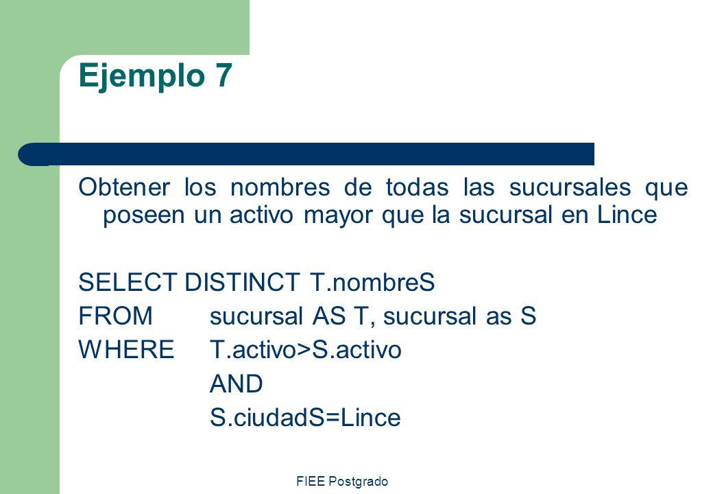 Ejemplo 7 Obtener los nombres de todas las sucursales que poseen un activo mayor que la sucursal en Lince.