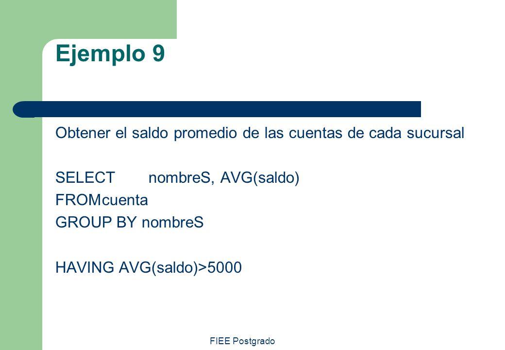 Ejemplo 9 Obtener el saldo promedio de las cuentas de cada sucursal