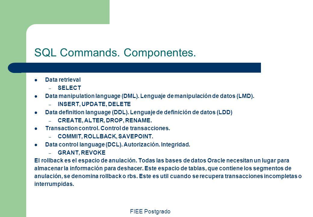 SQL Commands. Componentes.