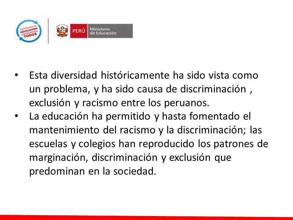 Esta diversidad históricamente ha sido vista como un problema, y ha sido causa de discriminación , exclusión y racismo entre los peruanos.