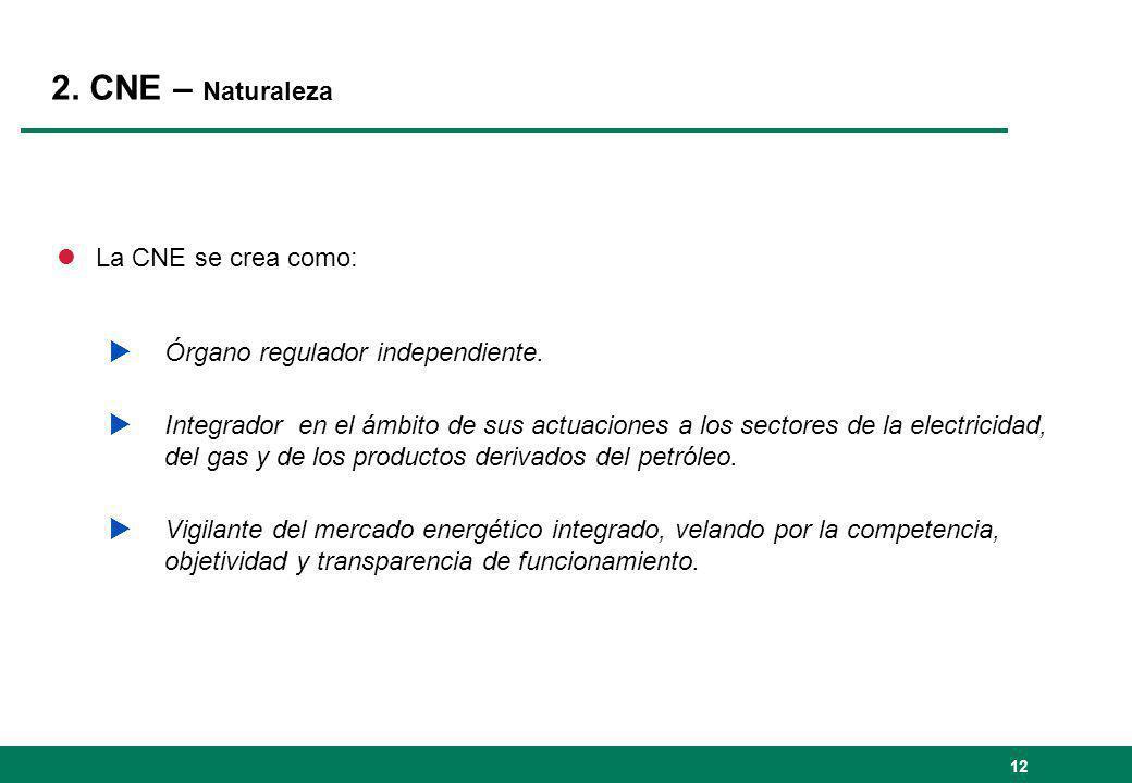 2. CNE – Naturaleza La CNE se crea como: