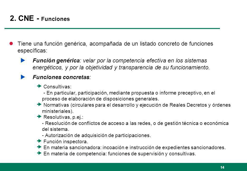 2. CNE - Funciones Tiene una función genérica, acompañada de un listado concreto de funciones específicas: