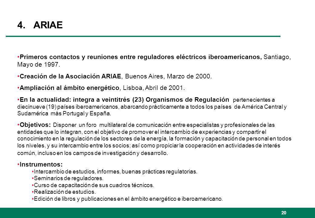 4. ARIAE Primeros contactos y reuniones entre reguladores eléctricos iberoamericanos, Santiago, Mayo de 1997.