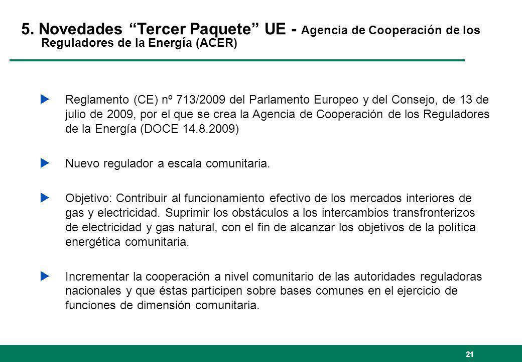 5. Novedades Tercer Paquete UE - Agencia de Cooperación de los Reguladores de la Energía (ACER)