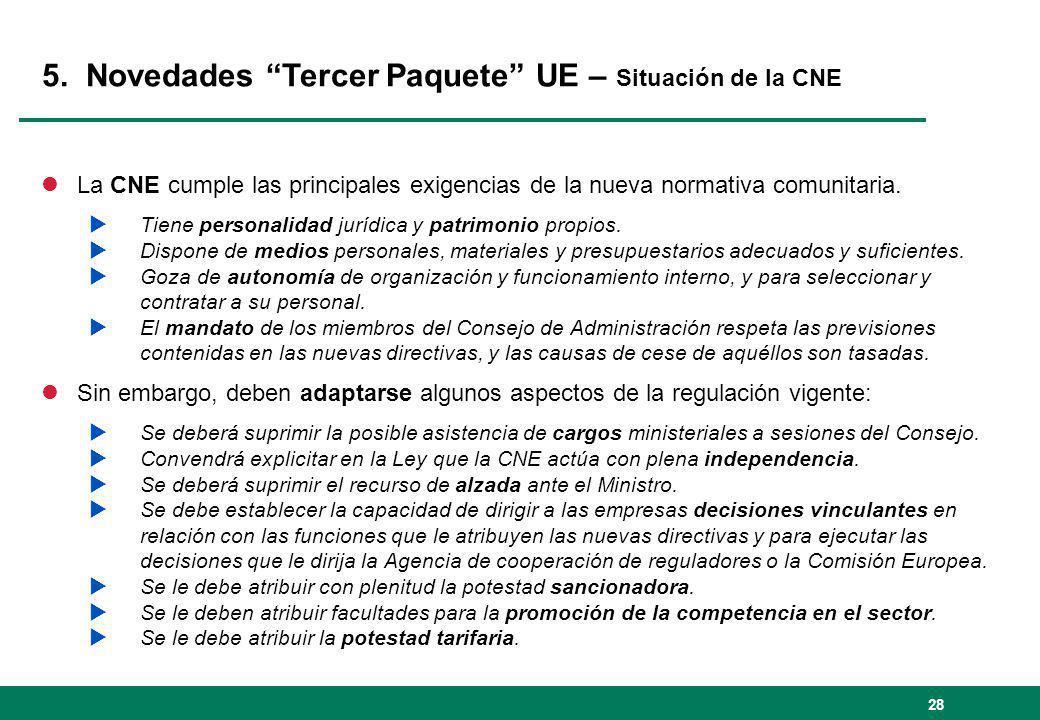 5. Novedades Tercer Paquete UE – Situación de la CNE