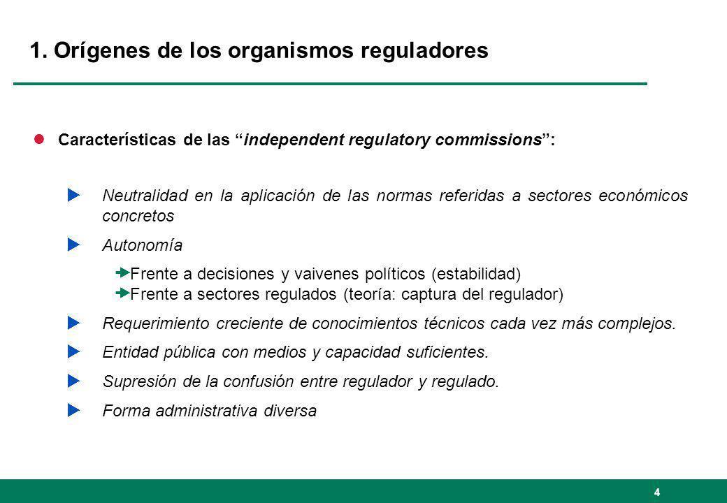 1. Orígenes de los organismos reguladores