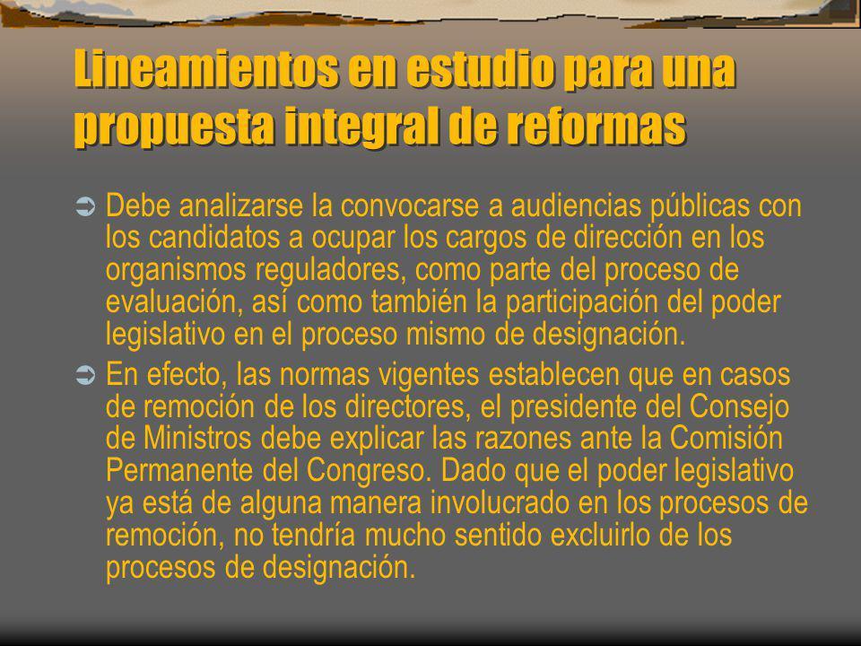Lineamientos en estudio para una propuesta integral de reformas
