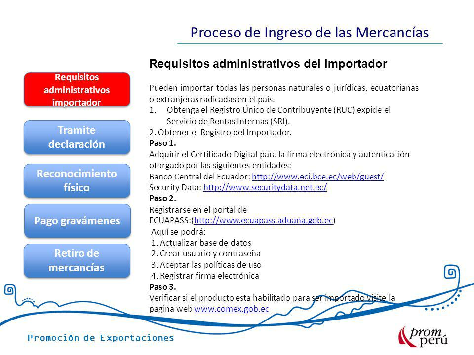 Requisitos administrativos del importador