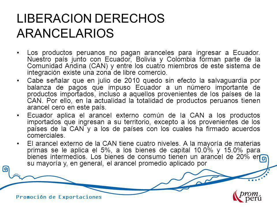 LIBERACION DERECHOS ARANCELARIOS