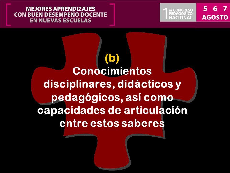 (b) Conocimientos disciplinares, didácticos y pedagógicos, así como capacidades de articulación entre estos saberes