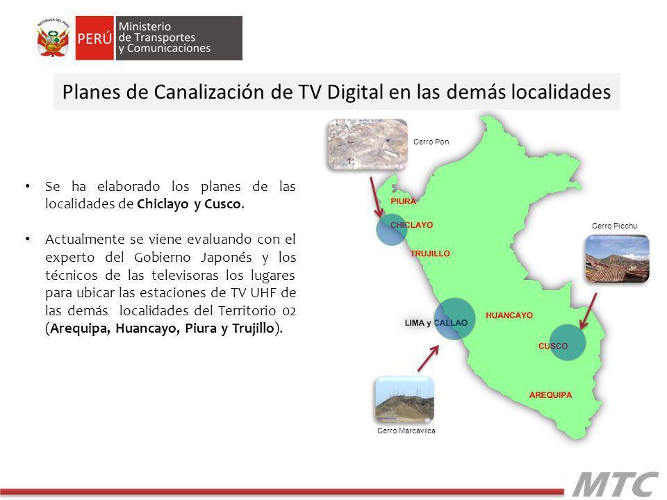 Planes de Canalización de TV Digital en las demás localidades