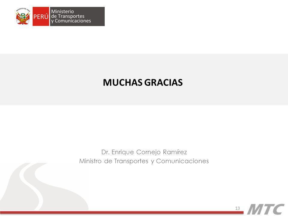 Dr. Enrique Cornejo Ramírez Ministro de Transportes y Comunicaciones