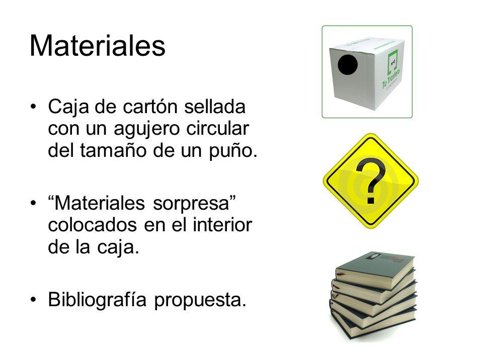 Materiales Caja de cartón sellada con un agujero circular del tamaño de un puño. Materiales sorpresa colocados en el interior de la caja.