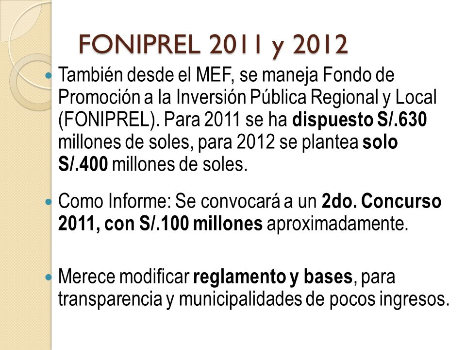 FONIPREL 2011 y 2012
