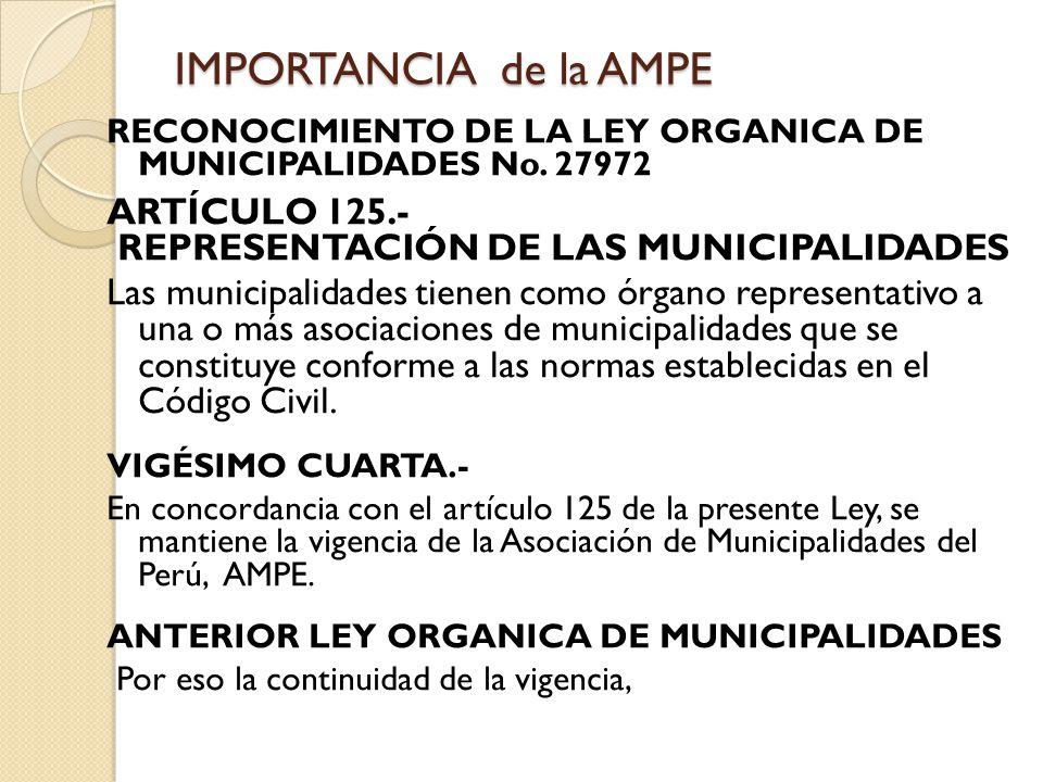 IMPORTANCIA de la AMPE ARTÍCULO 125.-