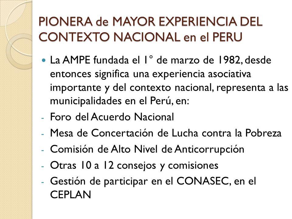 PIONERA de MAYOR EXPERIENCIA DEL CONTEXTO NACIONAL en el PERU