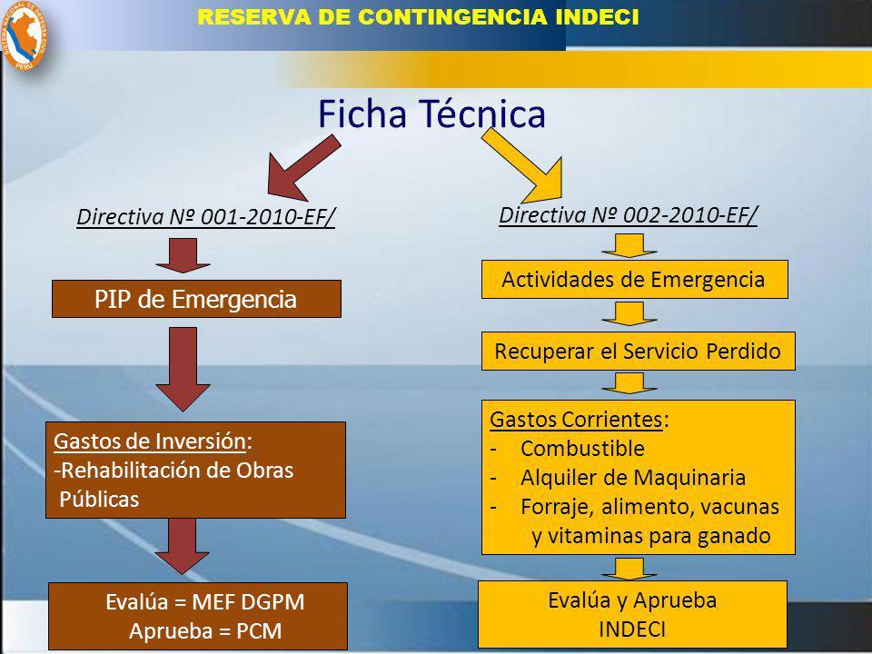 Ficha Técnica Directiva Nº 001-2010-EF/ Directiva Nº 002-2010-EF/