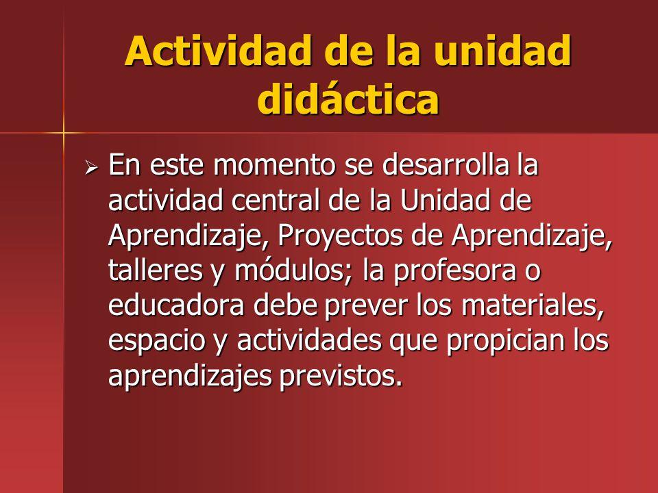 Actividad de la unidad didáctica
