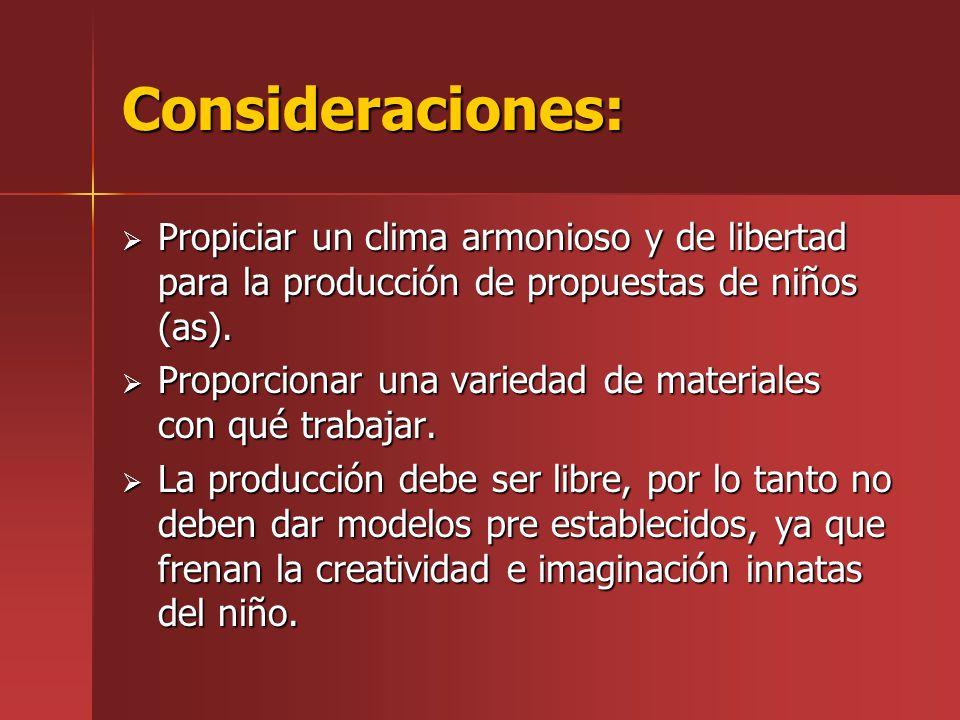 Consideraciones: Propiciar un clima armonioso y de libertad para la producción de propuestas de niños (as).