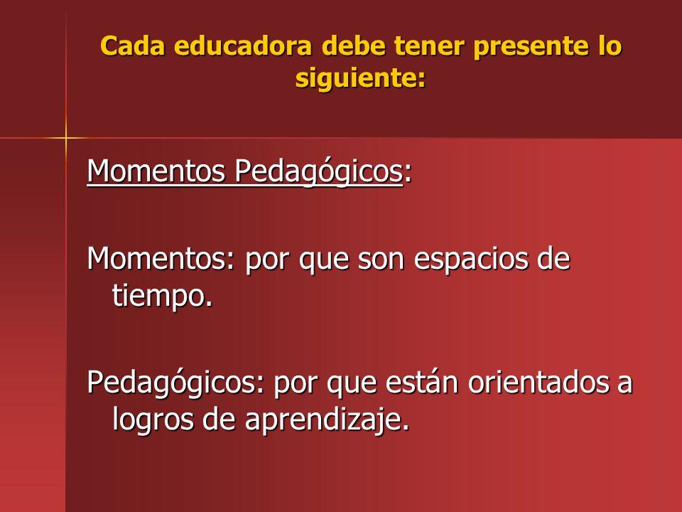 Cada educadora debe tener presente lo siguiente: