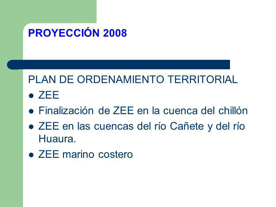 PROYECCIÓN 2008 PLAN DE ORDENAMIENTO TERRITORIAL. ZEE. Finalización de ZEE en la cuenca del chillón.