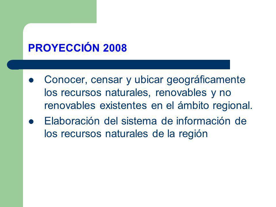 PROYECCIÓN 2008 Conocer, censar y ubicar geográficamente los recursos naturales, renovables y no renovables existentes en el ámbito regional.