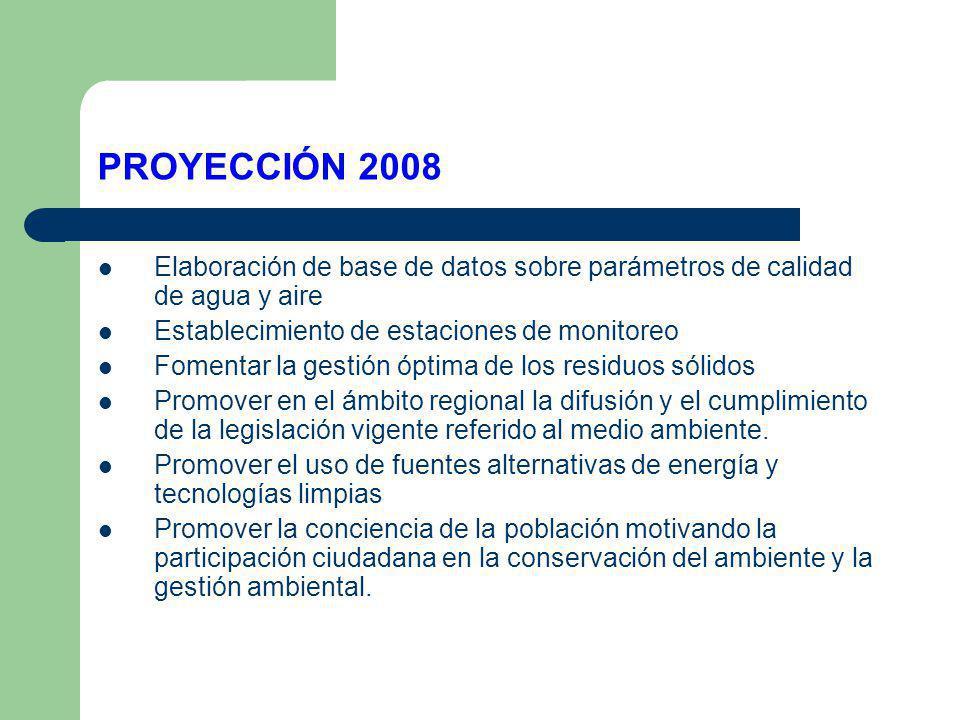 PROYECCIÓN 2008 Elaboración de base de datos sobre parámetros de calidad de agua y aire. Establecimiento de estaciones de monitoreo.