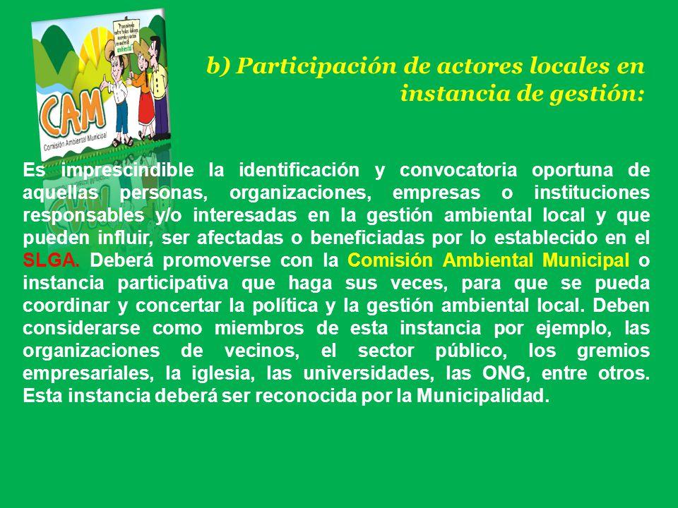 b) Participación de actores locales en instancia de gestión: