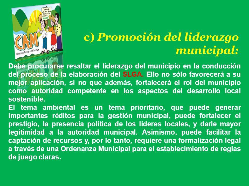 c) Promoción del liderazgo municipal: