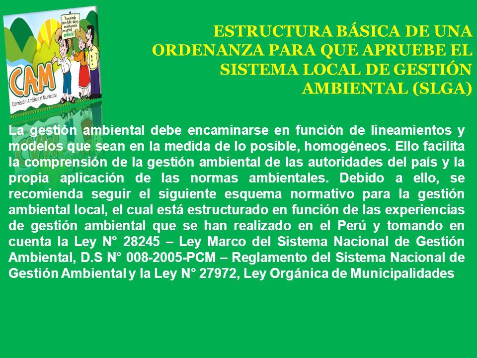 ESTRUCTURA BÁSICA DE UNA ORDENANZA PARA QUE APRUEBE EL SISTEMA LOCAL DE GESTIÓN AMBIENTAL (SLGA)