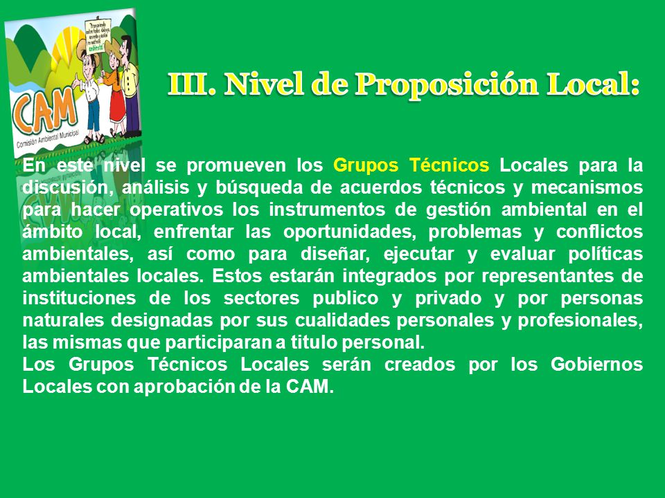 III. Nivel de Proposición Local: