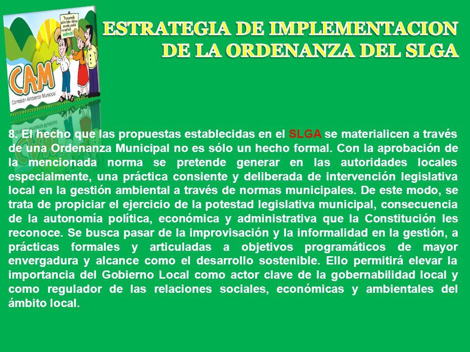 ESTRATEGIA DE IMPLEMENTACION DE LA ORDENANZA DEL SLGA