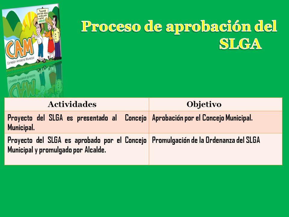 Proceso de aprobación del SLGA