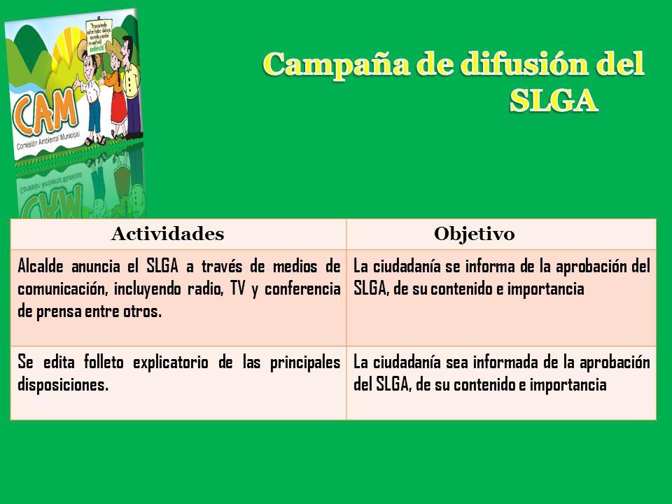 Campaña de difusión del SLGA