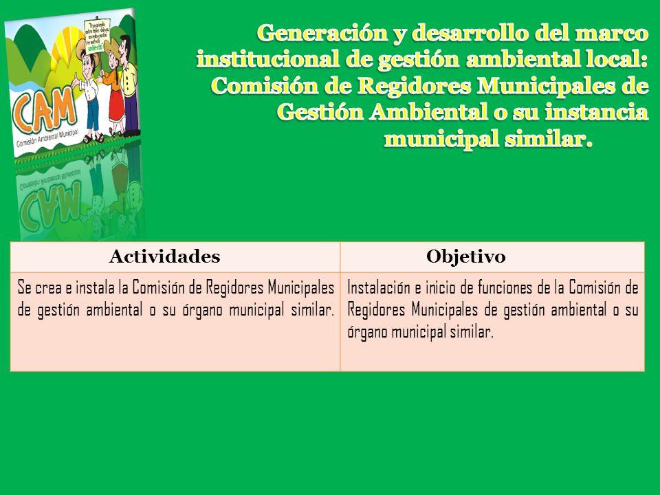 Generación y desarrollo del marco institucional de gestión ambiental local: Comisión de Regidores Municipales de Gestión Ambiental o su instancia municipal similar.