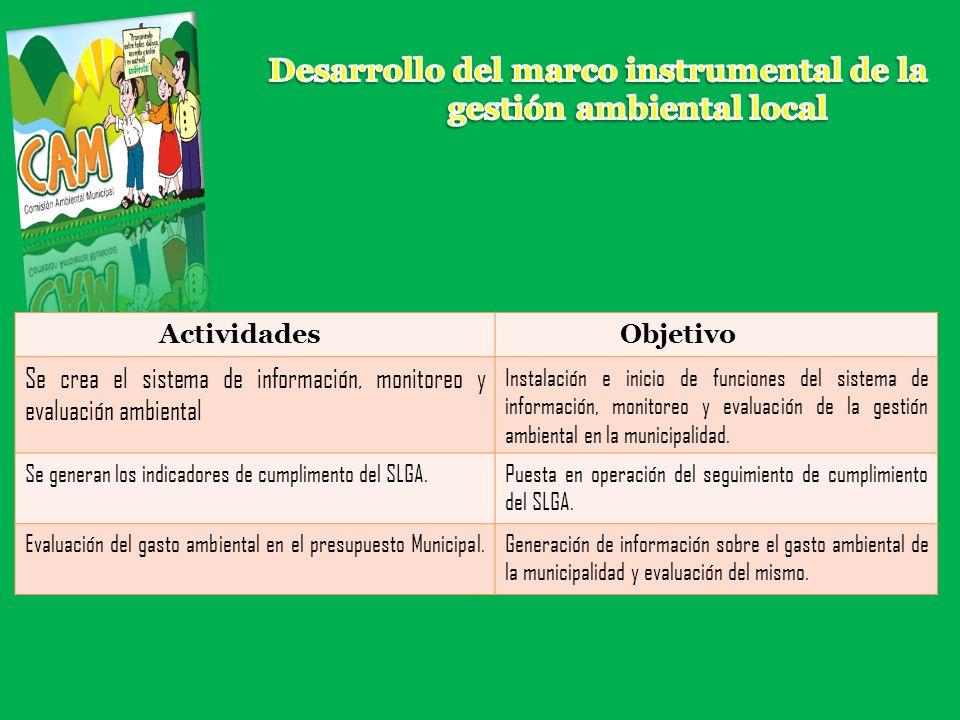 Desarrollo del marco instrumental de la gestión ambiental local