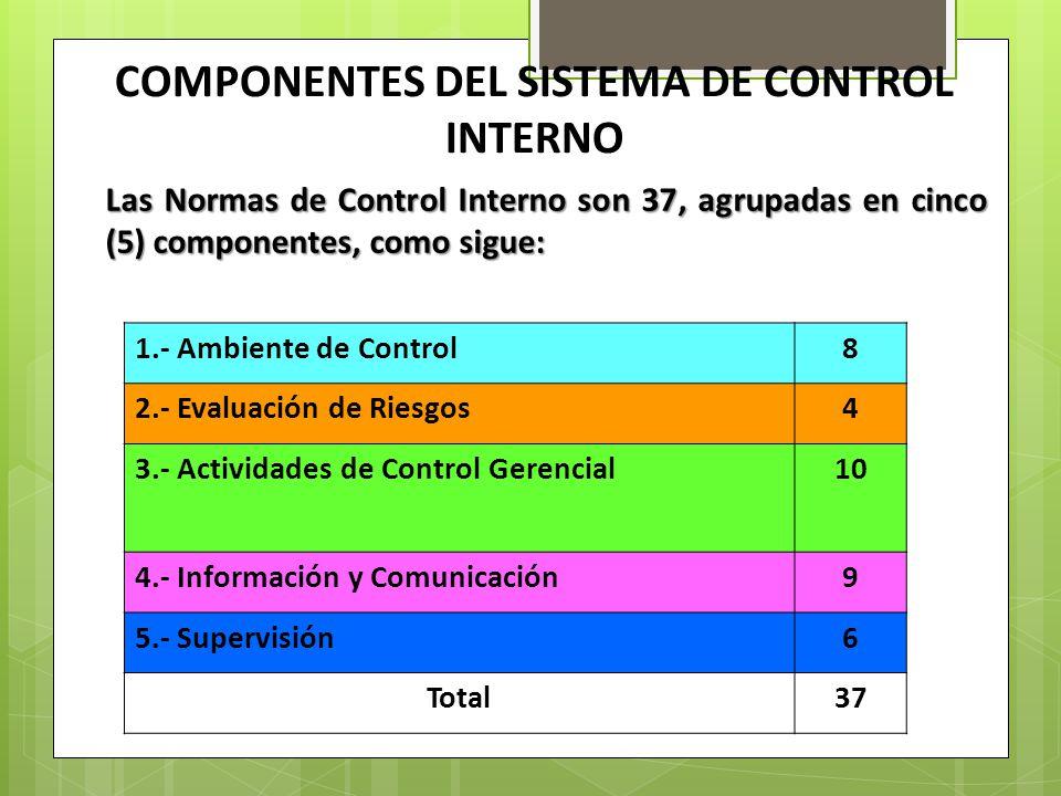 COMPONENTES DEL SISTEMA DE CONTROL INTERNO