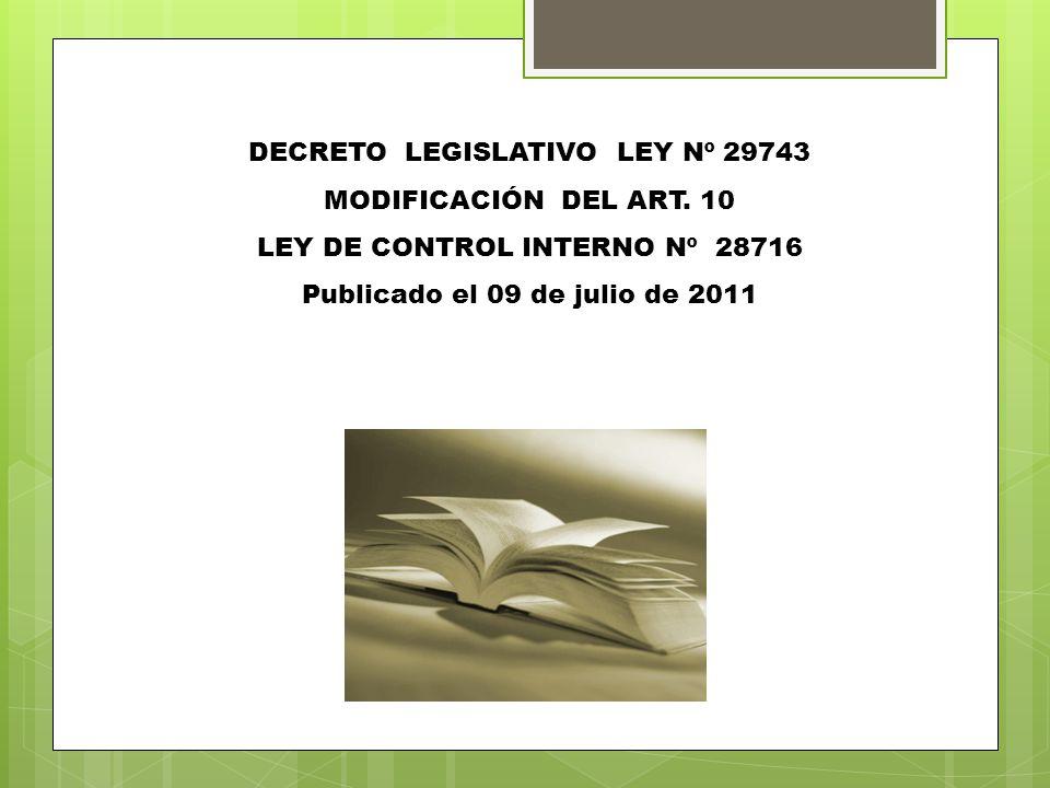 DECRETO LEGISLATIVO LEY Nº 29743 MODIFICACIÓN DEL ART. 10