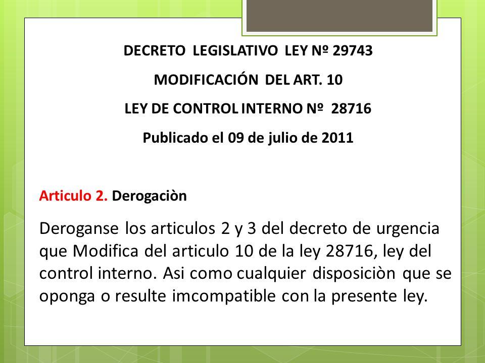 DECRETO LEGISLATIVO LEY Nº 29743