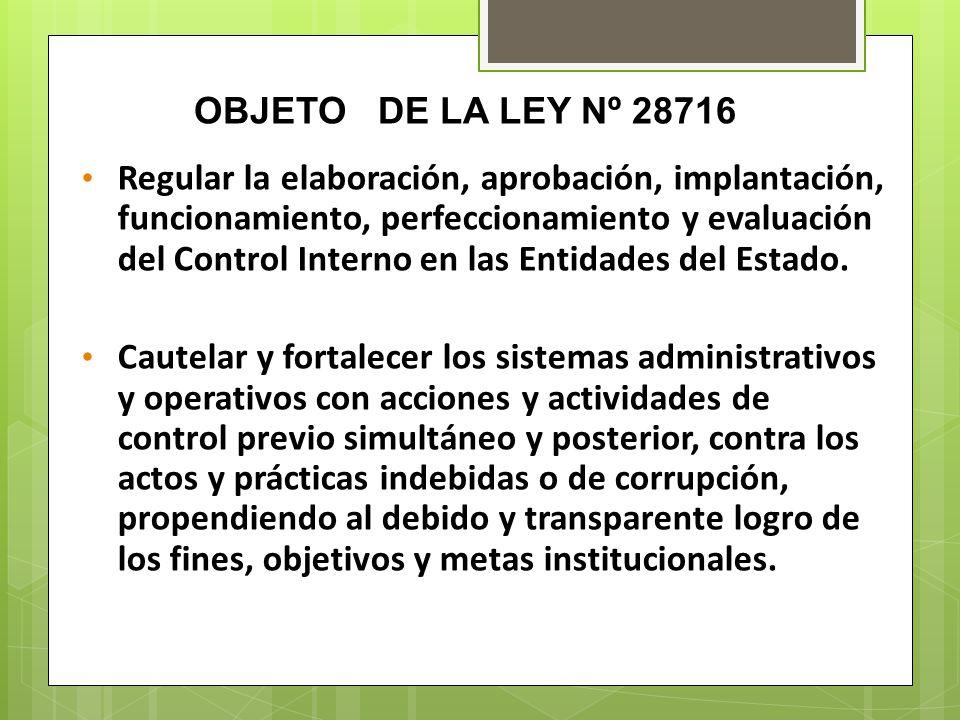 OBJETO DE LA LEY Nº 28716