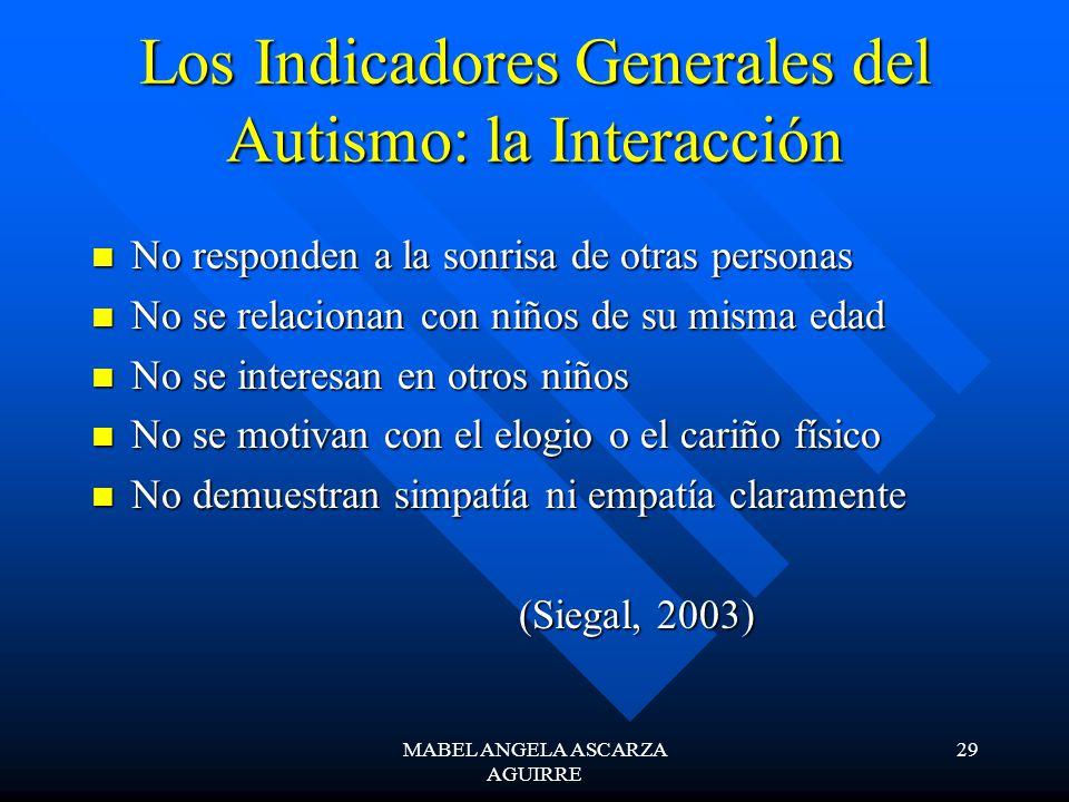 Los Indicadores Generales del Autismo: la Interacción