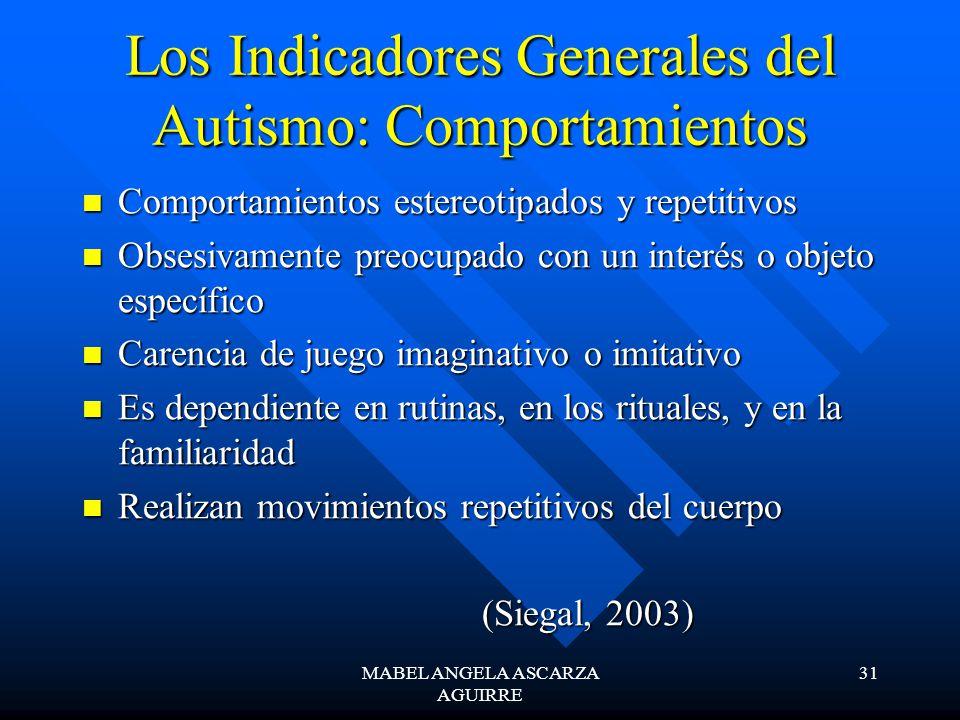 Los Indicadores Generales del Autismo: Comportamientos