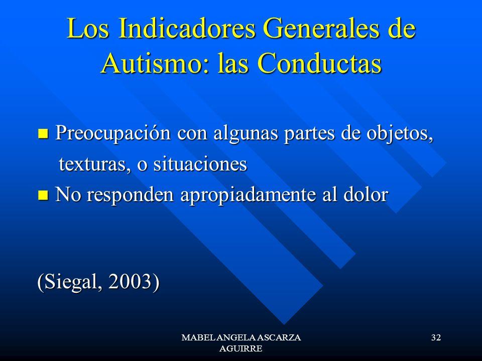 Los Indicadores Generales de Autismo: las Conductas