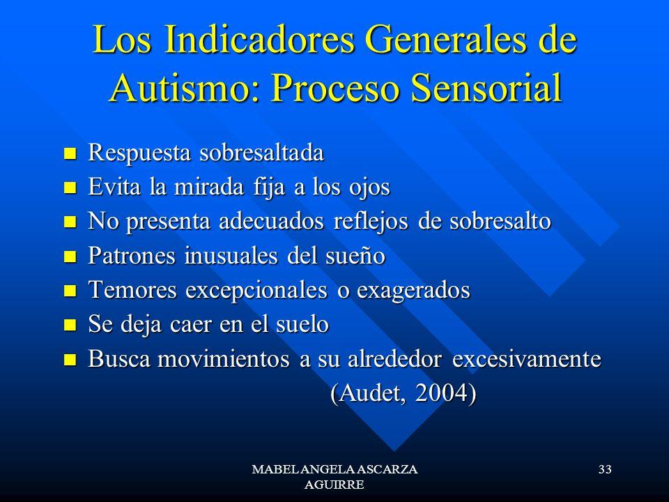 Los Indicadores Generales de Autismo: Proceso Sensorial